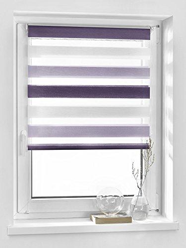 Vidella Doppelrollo zebra 3color Fenstermontage 83 cm, weiß / hell lila / dunkel lila, ZTC-4 83