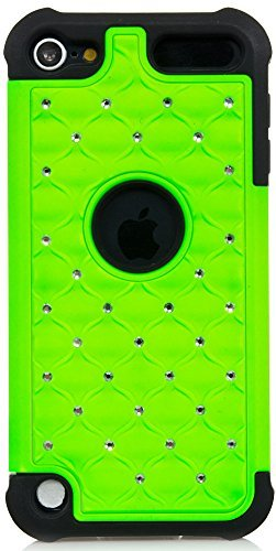 Apple Itouch Design Snap (ISEE Schutzhülle (TM) Hybrid Luxurious Lattice Dazzling Bling Bling Total Defense Dual Layer Combo Hart Weiche Haut Gel-Hülle für Apple iPod Touch 5iTouch 5(it5-hybrid Star + Stift), Grün)