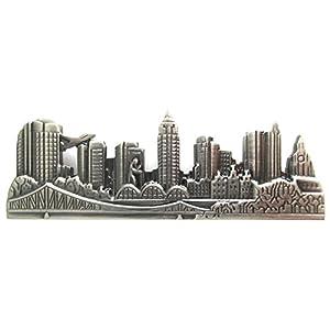 magdalena r. Frankfurt Kurze Krawattennadel Krawattenklammer Skyline III antiksilbern geschwärzt 6,1 cm mit hammering Man + Box