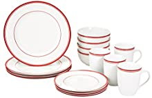 AmazonBasics - Servizio di piatti di porcellana per 4 persone, 16 pezzi, decorazione: bordo rosso