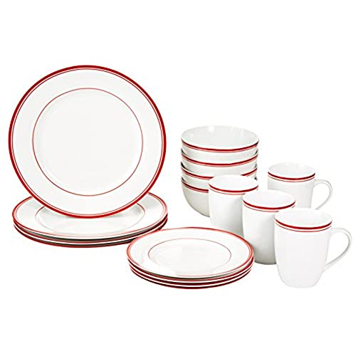 AmazonBasics Cafe Stripe Dinnerware Set with 16-Pieces - Red  sc 1 st  Amazon UK : red plate set - Pezcame.Com