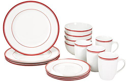 AmazonBasics 16-Piece Cafe Stripe Dinnerware Set - Red