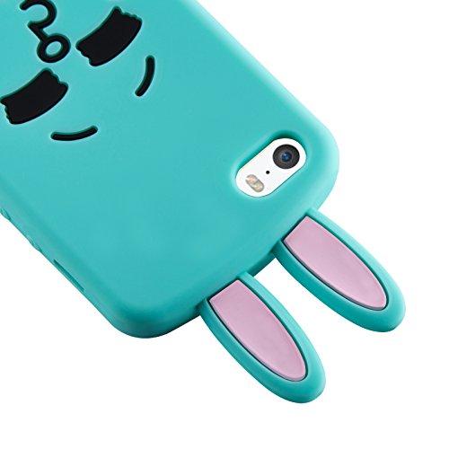 JAMMYLIZARD | Japanischer Hase Cony Line App Figur 3D Silikonhülle für iPhone 5 / 5s, GRÜN GRÜN