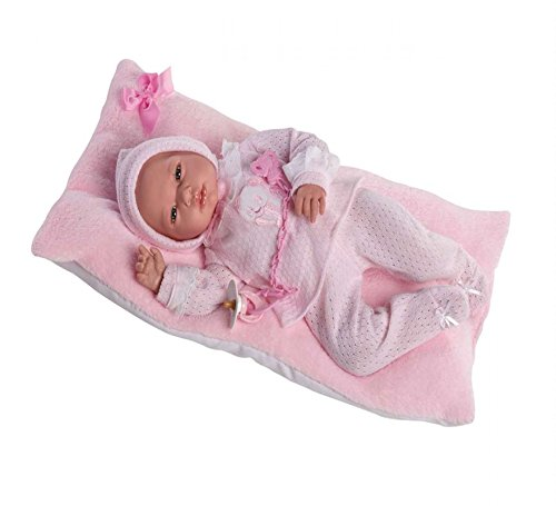 Guca, Muñeca baby reborn andrea polaina jersey y cojin rosa s/ pelo 46 cm, Modelos Surtidos