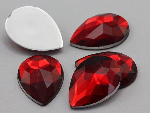 25x 18mm Ruby H103Flache Rückseite Tropfenform Acryl Jewels Hohe Qualität Pro (Ruby Gem Kostüm)