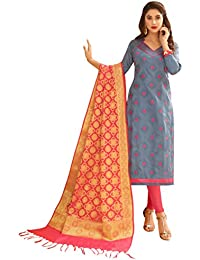 Women'S Grey Semi Stitched Embroidered Glaze Cotton Dress Material