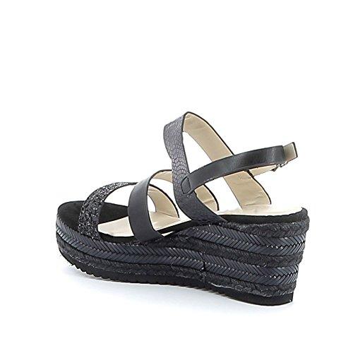Sandale compensée à brides Noir