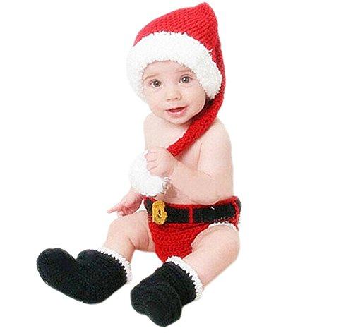 DELEY Baby Jungen Foto Requisiten Cosplay Santa Claus Häkeln Stricken Hut Hose Stiefel Set 0-6 (Für Kinder Hut Santa)