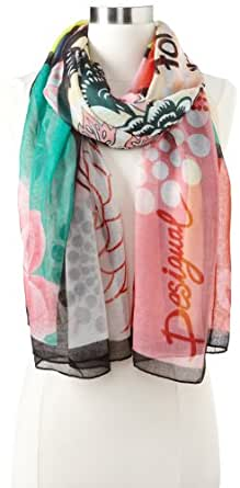 Desigual - foulard - imprimé - femme - Multicolore (blanco) - taille unique