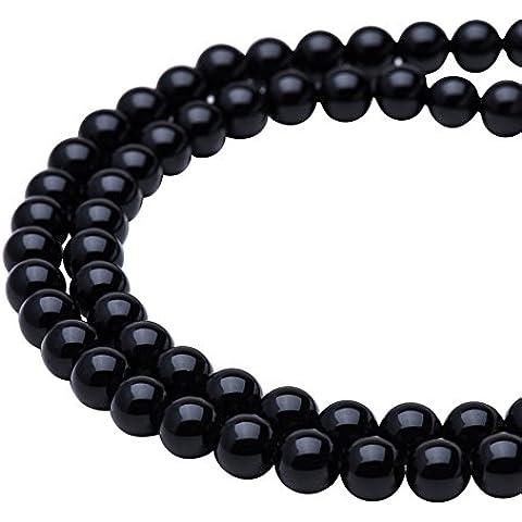 Pandahall elite Precio del 1 Pieza polaca Agata natural grado A un negro liso redondo para hacer la joyeria de piedras sueltas 6mm con el agujero 0.8mm sobre