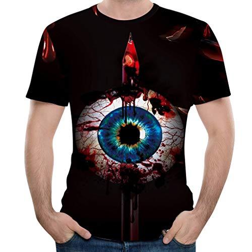Deep lovly Herren T-Shirt Halloween Kürbis 3D Print Kurzarm Sommer Herbst Explosive Tops Modische interessante Materialien Weich bequemTägliche Freizeitkleidung Tops (Explosive Gürtel Kostüm)