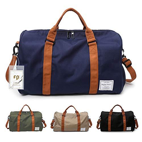 FEDUAN Herren Handgepäck Trainingstasche Fitnesstasche Gym Tasche Sporttasche hochwertige Reisetasche mit Schuhfach 48x26x28 cm mit Schultergurt (Blau)