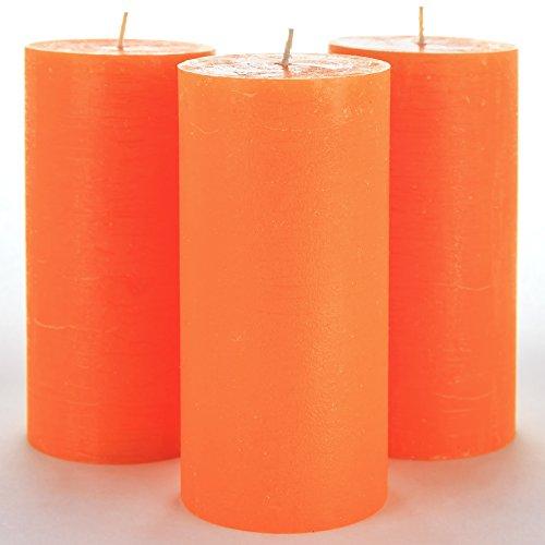 Juego de 3 velas pilar en naranja sin fragancia, de 7,5 x 15 cm ideal para bodas, restaurantes, decoración del hogar, balnearios, iglesias, con mecha de algodón sin humo por Melt Candle Company