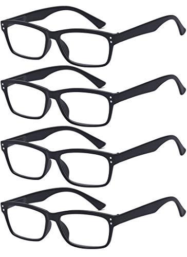 ALWAYSUV 4 Stück Schwarz Federn-Scharnier Lesebrille Klassische Lesehilfen Sehhilfen Brille