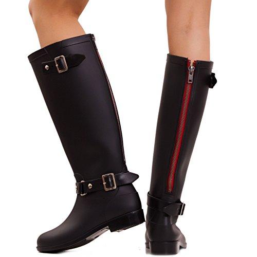 Toocool - Stivali pioggia donna galosce nere zip posteriore rain boots gomma 9001 Nero