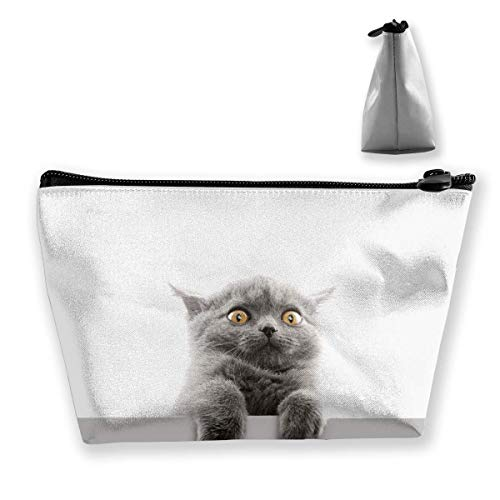 Makeup Bag Cosmetic Cat Animal Pet Gray Portable Cosmetic Bag Mobile Trapezoidal Storage Bag Travel Bags with Zipper (Nagel Stifte Dot)