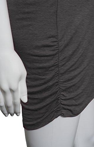 Femmes top tunique à col V à manches 3/4 zip frontal froncé coupe décontractée Gris