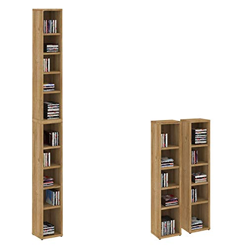 CD DVD Regal Chart Ständer Aufbewahrung in Wildeiche Holzoptik mit 10 Fächern für bis zu 160 CDs, 20x186,5 cm (Breite x Höhe)