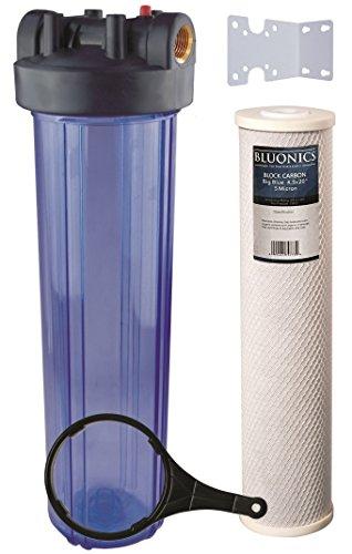 bluonics 50,8cm Big Blue ganze Haus Wasser Filter 5Micron Carbon Block für Chlor, Pestizide, herbizide, Insektizide, schlechten Geschmack und Geruch mit Klar Blau Transparent Gehäuse (5-micron-carbon-wasser-filter)