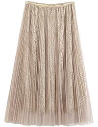 Yiiquan Imprimir Falda Larga de Mujer Plisada Cintura Alta Elegante Maxifalda de Playa Baile Fiesta