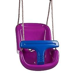 Ultrakidz 331900000167 Baby-Schaukelsitz Basic mit Schutzbügel und Gurt, Baby Schaukel, Kinderschaukelsitz aus Kunststoff inklusive Hängeseil, witterungsbeständig, Lila/blau