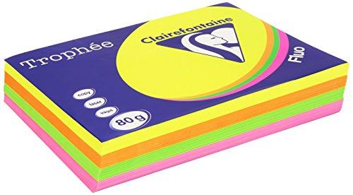 Clairefontaine Trophee Papier Sortiert Fluor/1705C rosa, gelb, grün, orange 80g