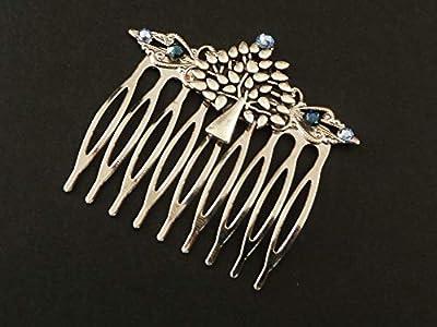Peigne à cheveux avec ornement en argent bleu