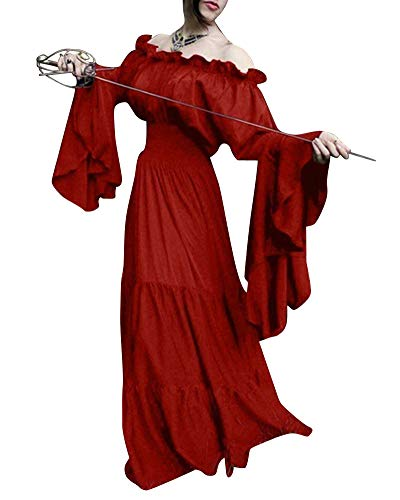 Damen Mittelalterliche Kleid Trägerloses Langarm Maxi Kleider Party Kostüm Rot ()