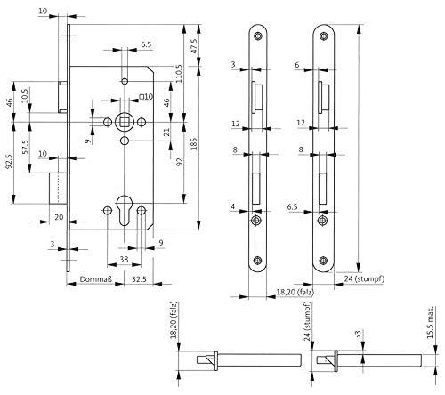Gu bks Haustürschloss BKS 0024 | Anschlag: DIN links | Ausführung: Stulp käntig | Dornmaß (mm): 65 | Lochung: PZ | Stulpbreite (mm): 20
