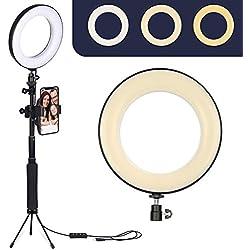 """ZOMEI 6 """"Anneau de Lumière LED avec Trépied Bâton à Selfie & Support de Téléphone Portable pour Stream en Direct, Vidéo YouTube, Maquillage, Vlog, Photographie Compatible avec iPhone Android"""