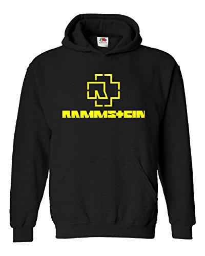 "Felpa Unisex ""Rammstein - yellow logo"" - Felpa con cappuccio rock band LaMAGLIERIA, S, Nero"