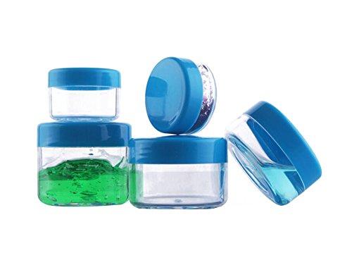 12 pcs 3 ml/5ml/10Ml/15ml/20ml vide rechargeable clair Voyage Pot de pot en plastique avec couvercle à vis Bleu Cosmétique échantillon conteneurs Forme ronde Maquillage Crème pour le visage Baume à lèvres Fard à paupières Boîte de rangement