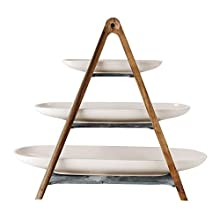 Villeroy & Boch Artesano Original, 3 Tiered Stand MaofFrom Materials, 4 Pieces, Premium Porcelain/Natural Slate/Wood, White, 44.5 x 33.2 x 4 cm