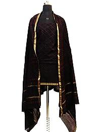 Gleamberry Women's Coffee Brown Dabu Block Print Maheshwari Chanderi Dress Material Set