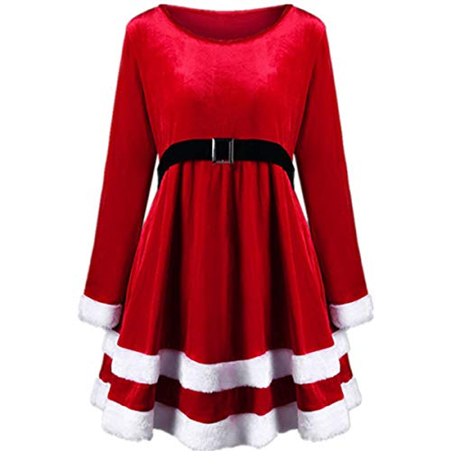 Miss Santa Mini Kostüm - HUNTFORGOOD Damen Weihnachten Kostüm Abendkleid Miss Santa Kleid