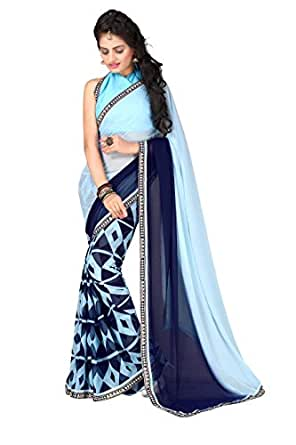 Oomph! Women's Georgette Saree with Blouse Piece (Free Size)