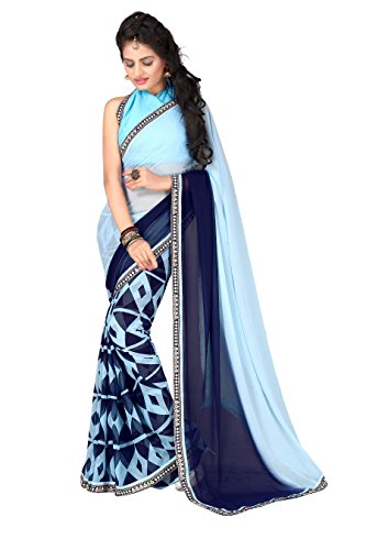 Oomph! Georgette Geometric Printed Saree - Sku Blue & Denim Blue