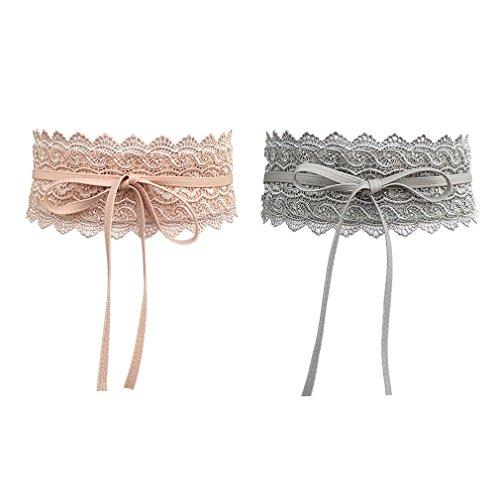 AIYUE 1 pc/2 pcs Damen Kleid Spitze Gürtel Taillengürtel Bindegürtel Wickelgürtel Vintage hüftgürtel breit Spitzengürtel taille, Pink+grau, Einheitsgröße