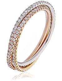 1CT Certified G/VS2 Round Brilliant Cut Full Eternity Russian Wedding Diamond Ring in 18K Rose, White and Yellow Gold