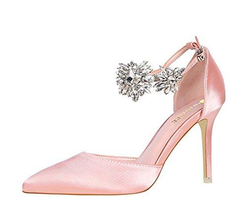 XINJING-S Strass Schnalle High Heels Schuhe Party Hochzeit Frauen Pumps Heels Kleidung Schuhe Rosa