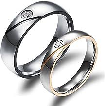 Ilove EU 1par (2pcs) Acero Inoxidable Anillo Banda Ring Ring circonitas Plata Negro Oro rayas Dome San Valentín par Partner regalo alianzas de boda anillos de compromiso Hombre, Mujer