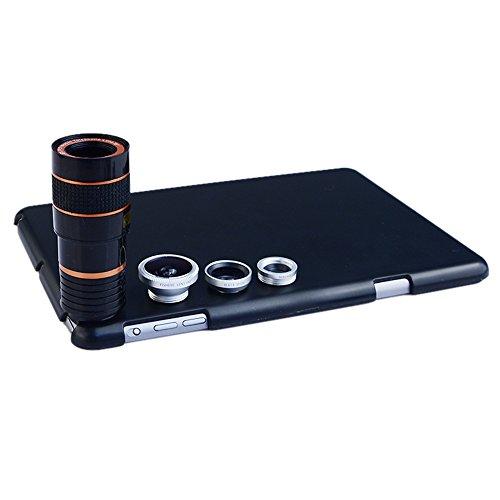Apexel Schutzhülle in Weitwinkel Makro Rückseite Fall Cover mit Fisheye und 8x Teleobjektiv für iPad Mini/Mini 2 silber silber 20x13.5x3.5