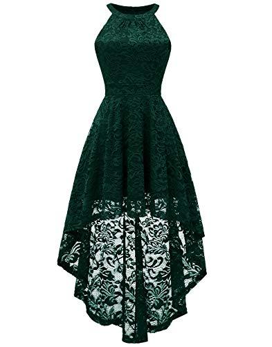 71024030606a78 Berylove Damen Cocktail Bautjungfern Kleid Vokuhila Spitzenkleid  Blumenmuster Einfarbig BLP7028DarkG