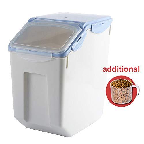 Baffect Envase de Comida, Caja de Almacenamiento para alimentación Animal, Comida para Perros Alimento para Gatos Envase para alimentación de Comida Seca Hermético, Grande 8-10 kg, Azul