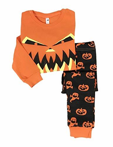 Tkria Halloween Geist-Kürbis-Muster-Kostüme Baby Säugling Kinder Langarm zweiteilige Schlafanzüge Set 2-7 Jahre