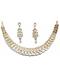 Shingar Jewellery Ksvk Jewels American Diamonds Silver And Gold Plated Necklace Set For Women (8959-nad)