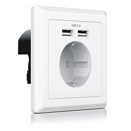CSL - USB Steckdose mit 2 x Anschlüssen | max Ladestrom 2.1A | Schuko-Schutzkontakt-Steckdose | bis zu 2100mA Ausgangsstrom
