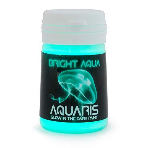 Pintura que Brilla en la Oscuridad, Aquaris (20ml), Color Aqua brillante (azul claro / turquesa) de SpaceBeams