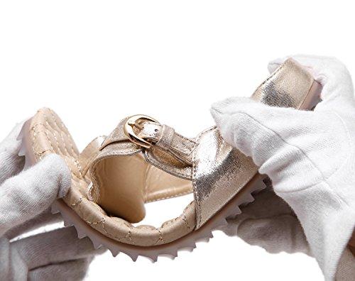 ZOEREA Damen Zehentrenner Metallic Glitzer Sommer Sandalen Flach PU Leder Sommerschuhe Mädchen Gold