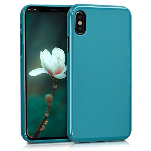 kwmobile Cover per Apple iPhone X - Custodia in silicone TPU - Back case protezione posteriore per cellulare rosso scuro metallizzato .petrolio opaco
